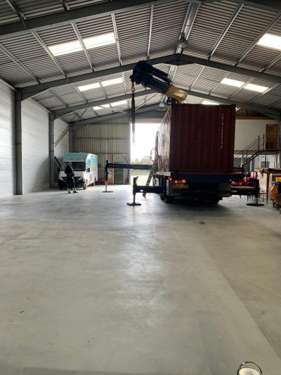 Shipping containers arrive at the warehouse- March 2020